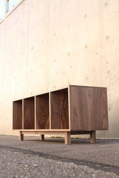 Warner Foyer Bench / LP Vinyl Storage (shown in Walnut) Plywood Furniture, Furniture Decor, Modern Furniture, Furniture Design, Lp Regal, Design Lounge, Foyer Bench, Architecture 3d, Record Cabinet