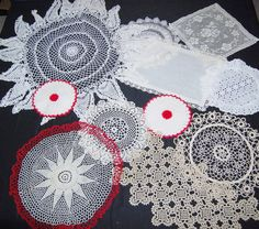 Vintage Doilies Ivory with A Touch of Red by CheekyVintageCloset