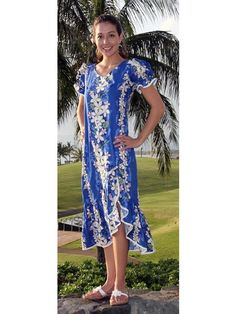73319b089c7 Two Palms Vintage Plumeria Blue Cotton Hawaiian Long Muumuu Dress