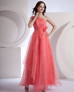 Discount Applique Pleated One Shoulder Floor Length Bridesmaid Dresses