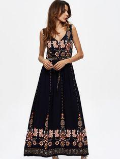 bc2465a54bc Bohemian women floral printed sleeveless v-neck hight waist maxi dresses  maxi dresses for plus