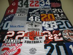 I want to do something like this!! I have a mountain of the ... : quilts made from sports jerseys - Adamdwight.com