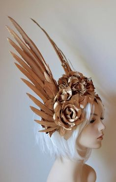 Gold Wings & Roses Headdress Made to order: goddess angel wedding crown costume wings roses cosplay party burning man angel ascot Burning Man, Fantasy Costumes, Fairy Costumes, Gold Feathers, Aesthetic Drawing, Aesthetic Vintage, Character Outfits, Alex And Ani, Mode Inspiration