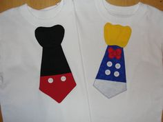 Mickey Mouse and Donald Tie T Shirts Set of Two by HomeArtsBoerne, $34.00  for our trip in January!