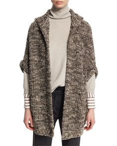 Paillette+Ribbed+Hooded+Poncho,+Moss+by+Brunello+Cucinelli+at+Neiman+Marcus.