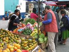 Shopping for vegetables in Otavalo Market in Ecuador