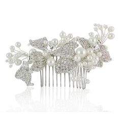 Trinity Crystal & Pearl Bow Bridal Hair Comb
