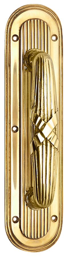 10 1/2 Inch Art Deco Style Door Pull and Plate (Polished Brass Finish)