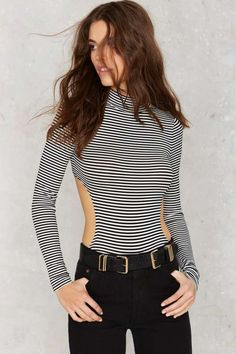 Back is the New Black Striped Bodysuit - Clothes