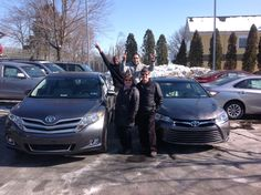 #LetsGetTwo! Congrats to Deb & Lewis on buying 2 New Toyota's! Thank you for coming to purchase your New 2015 Toyota Venza AND New 2015 Toyota Camry at Ardmore Toyota. And thank you for the awesome Photo you took! We hope you enjoy great times in your #Camry and #Venza. Thank you from Bobby, Peter, Dario and everyone at Ardmore Toyota! #ThatNewCarSmell #Smile #OneBoldChoice #Jump