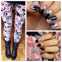 Pink and Black Floral Rose Nails Inspired by Leggings. Beautiful!