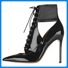ENMAYER Frauen Schwarz Stiletto High Heels Stiefeletten Lace-up Pointy Hollow Partykleid Schuhe Motorrad Gladiatoren Stiefel 34 B (M) EU High Heels Stilettos, High Heel Boots, Heeled Boots, Pumps, Pump Shoes, Women's Shoes, Gladiator Boots, Super High Heels, Ankle Booties