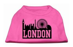 London Skyline Screen Print Shirt Bright Pink XXXL (20)