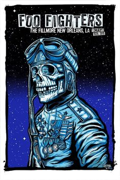 Foo Fighters Concert Poster - The Fillmore, New Orleans, LA - - Artwork by Zoltron Foo Fighters Poster, The Filmore, Art Hippie, Rock Band Posters, Concert Festival, Tour Posters, Alice In Chains, Concert Posters, Music Posters