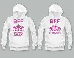 Drama Queen and Princess Girl BFFS Hoodies