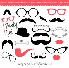 Illustration of Retro Party set - Sunglasses, lips, mustaches vector art, clipart and stock vectors. Retro Party, Diner Party, Accessoires Photobooth, Foto Fun, Party Set, Mustache Party, Diy Photo Booth, Party Props, Party Ideas