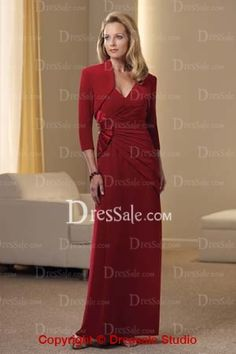 Glorious Red Chiffon Gown in Dainty Ruche
