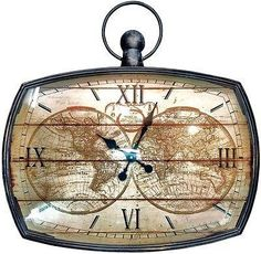 Vintage world map alarm clock furniture accessories at mulberry vintage gents office metal large atlas maps wall clock gumiabroncs Image collections