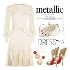 """New Wave ... Metallic Dress"" by conch-lady ❤ liked on Polyvore featuring Alexander McQueen and Christian Louboutin"