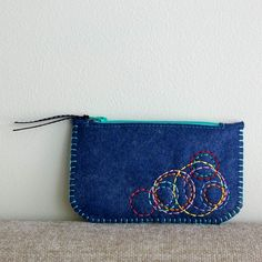 Colorful Circles Wool Felt Coin Purse Wallet by LoftFullOfGoodies, $18.00