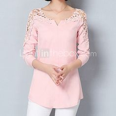 Women's Going out Formal Work Sexy Street chic Sophisticated All Seasons Spring Shirt,Solid Asymmetrical Long Sleeve Blue Pink White Green 5569150 2017 – Street Chic, Street Style, Cheap Womens Tops, Top Streetwear, Lace Outfit, Spring Shirts, Asymmetrical Tops, Mode Outfits, Blouse Designs
