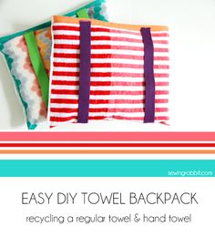The DIY Beach Towel Backpack by The Sewing Rabbit is such a smart idea! Perfect for throwing in the wash after a fun day in the sun.