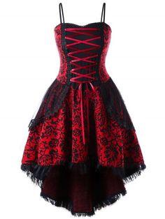 13845879d68 CharMma Plus Size Lace Up Dip Hem Corset Dress Women Vintage A Line Slim  Elegant Party Dress Female Vestido Femme Big Size