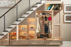 Storage options abound with Wellborn Cabinet! Functional storage is critical for any entryway or mudroom area. With Wellborn Cabinets storage options all coats, shoes, and misc. Items can be hidden out of sight. #WellbornCabinet Closet Under Stairs, Under Stairs Cupboard, Coat Storage, Stair Storage, Wellborn Cabinets, Entry Closet, Staircase Makeover, Bath Design, Cabinet Design