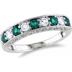 1/2 Carat T.G.W. Created Emerald and Created White Sapphire 10kt White Gold Semi-Eternity Ring