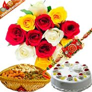 Rakhi with flower, cake and dryfruits  with Rakhi Same Day Delivery
