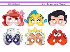 Little Mermaid Printable Masks,party,mask,birthday,Ariel,Eric,Flounder,printable,Triton,Sebastian,Ursula,Disney characters,photo booth prop