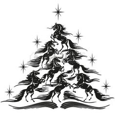 Illustration of Horse lovers christmas tree - sport horses vector art, clipart and stock vectors. Christmas Tree Stencil, Diy Christmas Ornaments, Diy Christmas Gifts, Christmas Decorations, Merry Christmas, Christmas Horses, Cowboy Christmas, Christmas Animals, Wood Burning Stencils