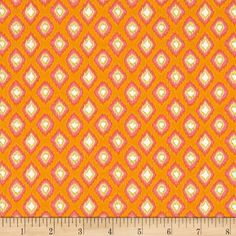 Tangier Ikat Diamond Orange from @fabricdotcom  Designed by Dena of Dena Designs for Free Spirit, this cotton print fabric is perfect for quilting, apparel and home décor accents. Colors include orange, deep pink, white, lime and yellow.