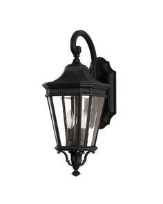 Elstead Lighting Feiss Cotswold Lane 2 Light Outdoor Medium Wall Lantern In Black Finish