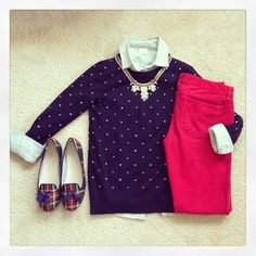 Polka dot sweater, button down shirt, statement necklace,  red pants, plaid shoes (maybe replace with leopard shoes)