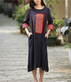 Chinese traditiona long dress with vintage embroidery, from miao ethanic of Yunnan, China, Navy blue,dark blue
