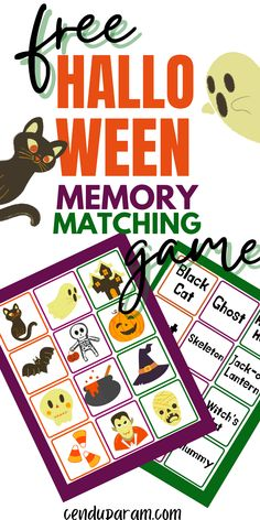 Try this FREE printable Halloween matching game for kids! Kids will love this fun Halloween memory matching game while they work on Halloween vocabulary. This is the perfect indoor Halloween game to play at home or at school or for parties too! You can use the pictures alone for preschoolers and use the pictures and words for elementary age kids. It's such a fun, cheap and easy Halloween game for kids. Enjoy this free printable Halloween game for kids