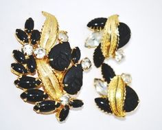 Matching Black and Gold Brooch Earrings Set by LustfulJewels