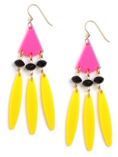 The bohemian style of Stevie Nicks goes head-on with the florescent trend in these delightful earrings. Done in hot pink and neon yellow, they're a plastic fantastic take on the classic feather fringe design.  BB Spotting: As Seen on Jill Martin on The Today Show