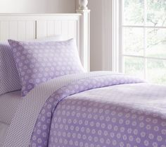 Flower Dot Chamois Duvet Cover | Pottery Barn Kids