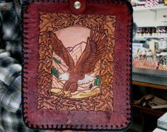 I Pad Case / Leather / Hand  Carved and Tooled / Men /  Women/Custom / Hand Made / Eagle / I Pad Cover / Men / Women / Tablet / Case / Cover
