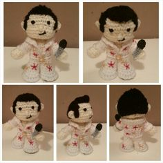 Free standing  Elvis crochet doll with pivot head