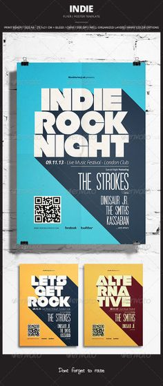 Buy Indie Flyer / Poster 12 by graphicovy on GraphicRiver. Indie Flyer / Poster 12 Promote any kind of music event. Gig, Concert, Festival, Party or weekly event in a music cl. Event Poster Design, Graphic Design Posters, Event Posters, Flat Design Poster, Movie Posters, Retro Posters, Poster Designs, Indie, Layout