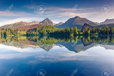 Mountain lake in National Park High Tatra. Strbske pleso, Slovakia,..