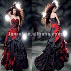 2012 most popular red and black wedding dresses