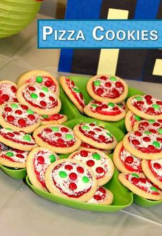 These Pizza Cookies are super awesome! Bake a batch for your ninja tu… Cowabunga! These Pizza Cookies are super awesome! Bake a batch for your ninja turtle party snack, and pair them with a bag of Pop Secret's pre-popped White Cheddar Popcorn. Pizza Party Birthday, Turtle Birthday Parties, 4th Birthday, Kids Pizza Party, Birthday Ideas, Birthday Cakes, Birthday Recipes, Carnival Birthday, Cookie Pizza