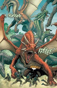 frank cho dragon comic page Frank Cho, Wings Of Fire Dragons, Cool Dragons, Fantasy Dragon, Fantasy Art, Fantasy Creatures, Mythical Creatures, Dragon Anatomy, Dragon Comic