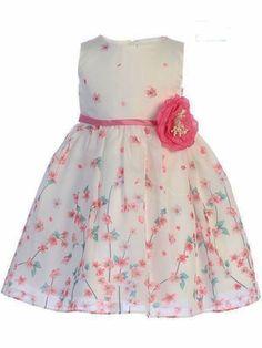 91b45711502 Swea Pea   Lilli M214 Pink   White Floral Organza Satin Dress