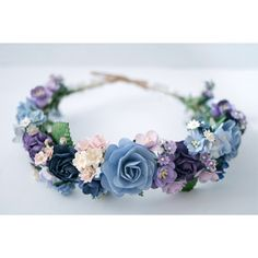 Paper Flower, Bridal flower crown, circle wild 20 cm headband, Pink,... ($29) ❤ liked on Polyvore featuring accessories, hair accessories, flower garland, purple flower crown, flower headband, flower garland headband and pink flower headband
