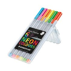 STAEDTLER triplus® fineliner 334 STAEDTLER triplus® fineliner 334 containing 6 assorted NEON colours SET water-based ink. Stand-up STAEDTLER box. Ergonomic triangular shape for relaxed and easy writing. Fineliner Pens, Easy Writing, Fine Pens, Stationery Pens, Ink Wash, Neon, Marker Pen, Colorful Drawings, Gifts